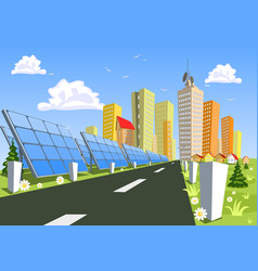Abstract city and solar power technology vector