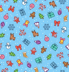 Christmas doodle pattern vector image vector image