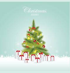 christmas tree and christmas balls with gift boxes vector image