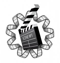 clapboard and film strip vector image vector image