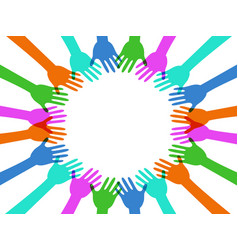 colorful hands around with copy space vector image vector image