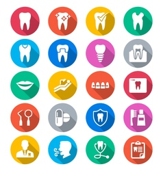 Dental flat color icons vector image vector image