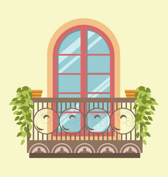 House window balcony facade retro style vector
