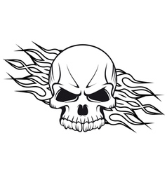 Human skull with flames for tattoo vector