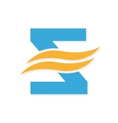 logo combination of a letter Z and wave vector image vector image