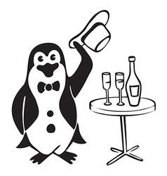Penguin gentleman with wine vector image vector image