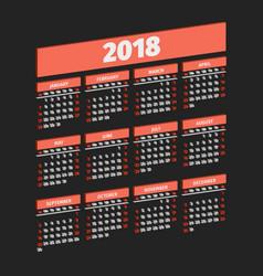three dimensional 2018 year calendar vector image vector image