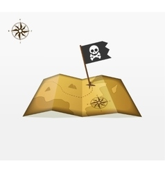 Treasure map with coordinates and pirate vector image