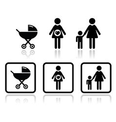 Baby icons set - carriage pregnant woman family vector image vector image