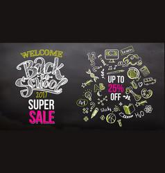back to school super sale on blackboard vector image vector image