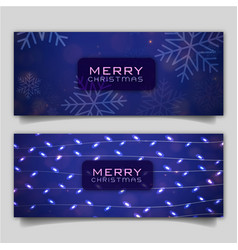 elegant merry christmas banner with lighting vector image