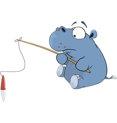 Little hippopotamus a fisherman Cartoon vector image vector image