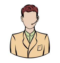 man with headset icon cartoon vector image