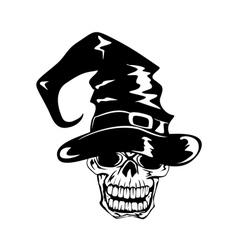 skull in halloween hat vector image vector image