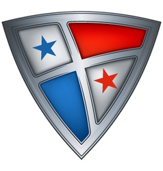 steel shield with flag panama vector image