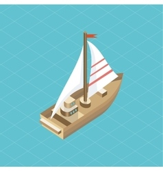 Yacht at Sea Isolated Icon Isometric vector image vector image