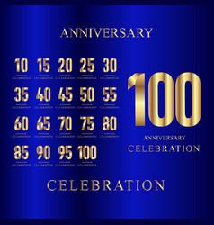 100 year anniversary celebration set gold blue vector