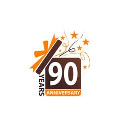 90 years gift box ribbon anniversary vector