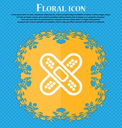 adhesive plaster icon Floral flat design on a blue vector image