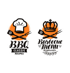 Bbq barbecue logo or label element for vector