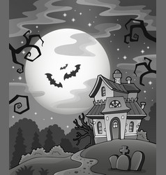 Black and white haunted house vector