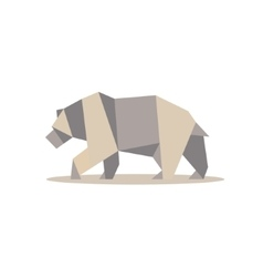 Brown bear in polygon style design on the low poly vector image