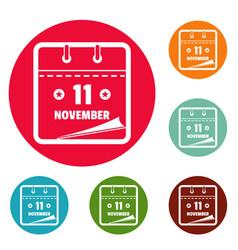 calendar eleventh november icons circle set vector image