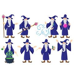 Cartoon fairy tale medieval wizard magician vector