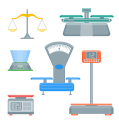 cartoon weight scales color icons set vector image