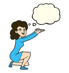 cartoon woman presentation gesture with thought vector image
