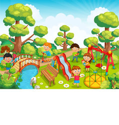 Children playing with toys on the playground in th vector