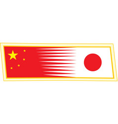 Chinese and japanese flag vector