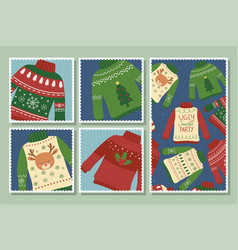 Christmas ugly sweaters party postcards collection vector