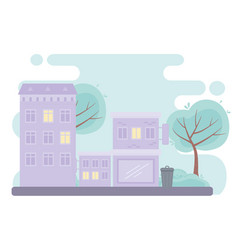city urban street buildings commercial residential vector image