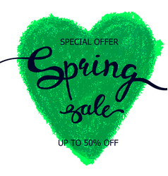 Colorful crayon scribble heart poster spring sale vector