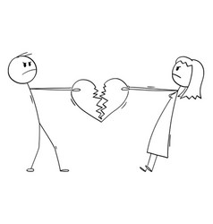 Couple man and woman fighting for broken heart vector