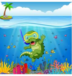 Crocodiles snorkeling underwater sea vector