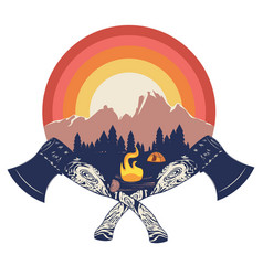 crossed axes and campfire vector image