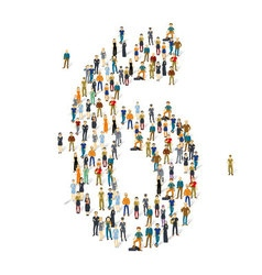Crowded people alphabet figures vector