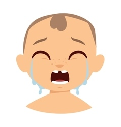 Crying boy face vector image