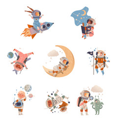 Cute kids astronauts in space suits in outer space vector