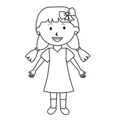 cute little girl avatar character vector image