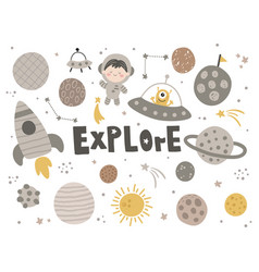 cute set space related items vector image