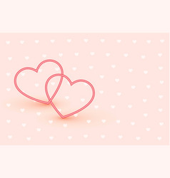 elegant two line hearts on soft pink background vector image