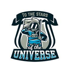 Emblem logo an astronaut salutes and holds vector