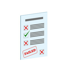 Exam fail symbol flat isometric icon or logo 3d vector