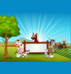Farm animals with a blank sign wood vector