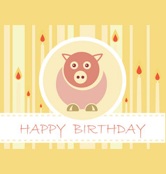 Flat design birthday party card with cute pig and vector