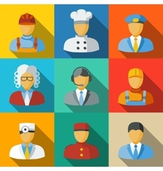 Flat icons with people faces of different vector image