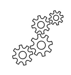 Four gear wheel countour vector